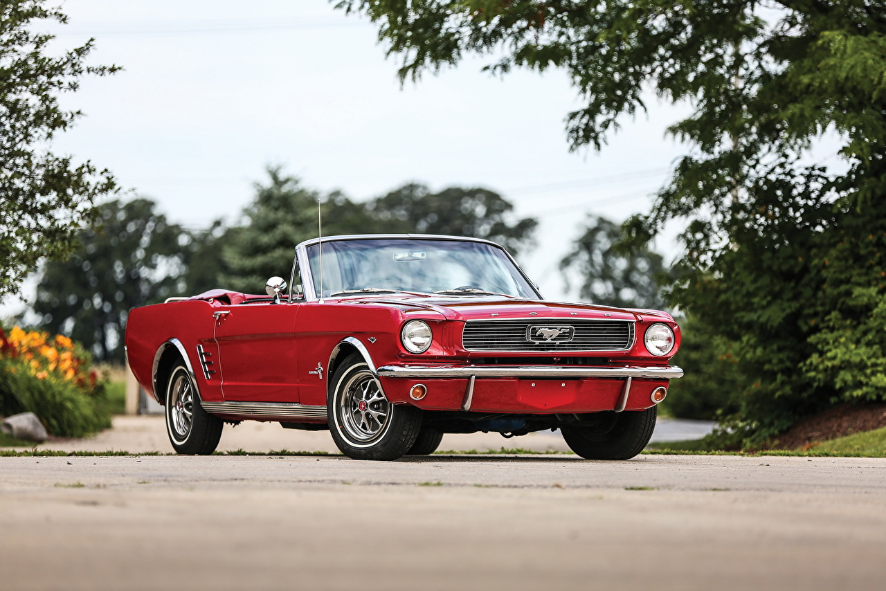 Desktop Wallpapers Ford Mustang 1966 Cabriolet Red Retro