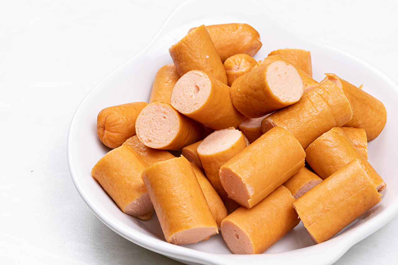 Image Piece Vienna sausage Food Plate Many White background pieces