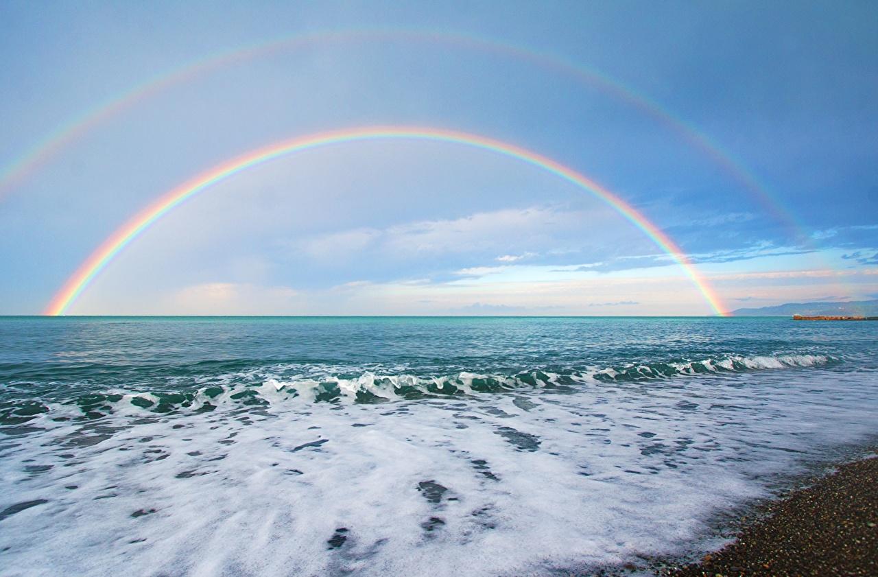 Фото Море Радуга Природа Небо Побережье горизонта радуги берег Горизонт