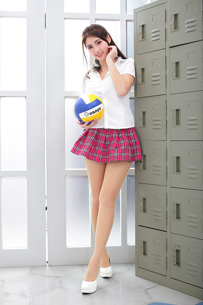 Photos Skirt Schoolgirl posing Blouse female Legs Asiatic Ball Glance  for Mobile phone Schoolgirls Pose Girls young woman Asian Staring