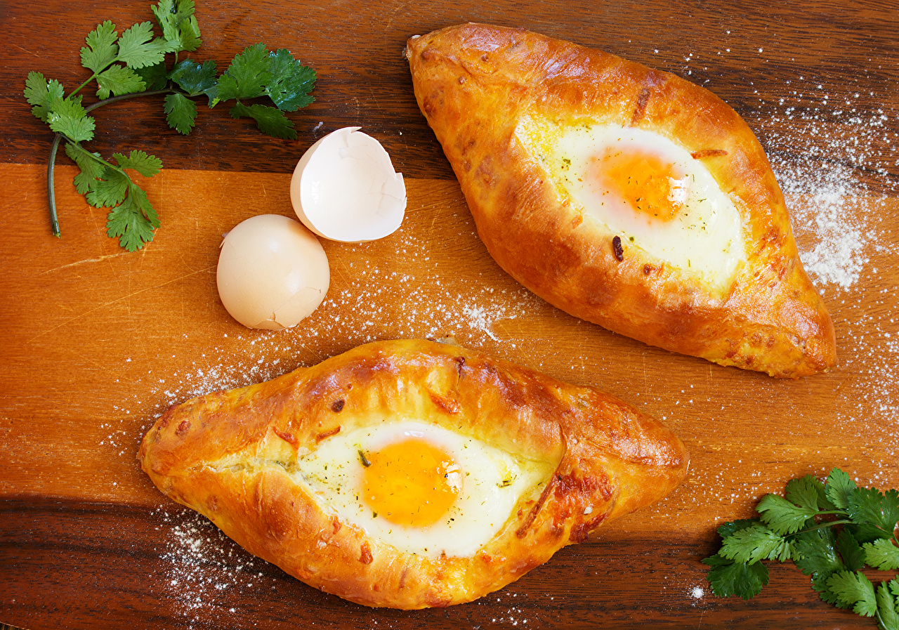 Photos Food 2 Khachapuri Fried egg baking Two Pastry