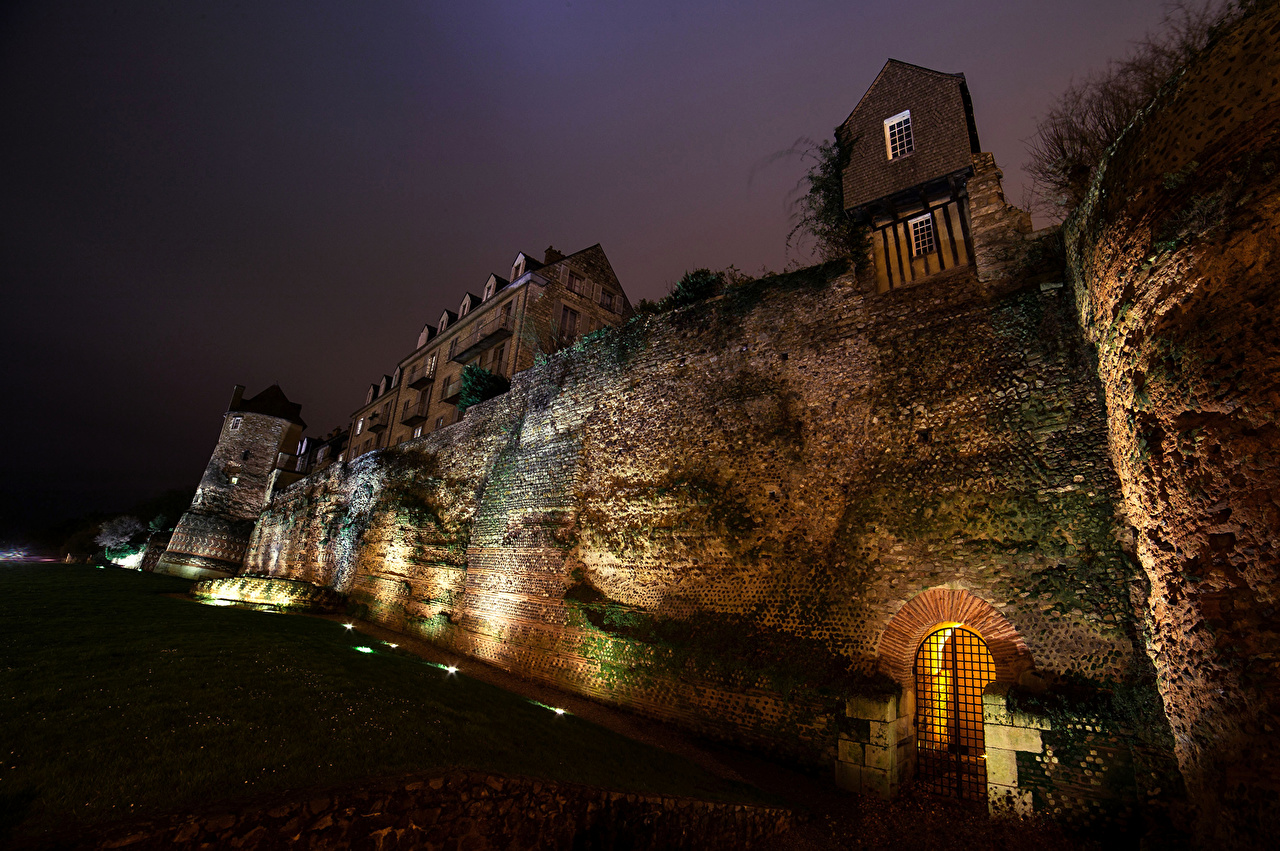 Picture France Fortification Le Mans Night Cities Fortress night time