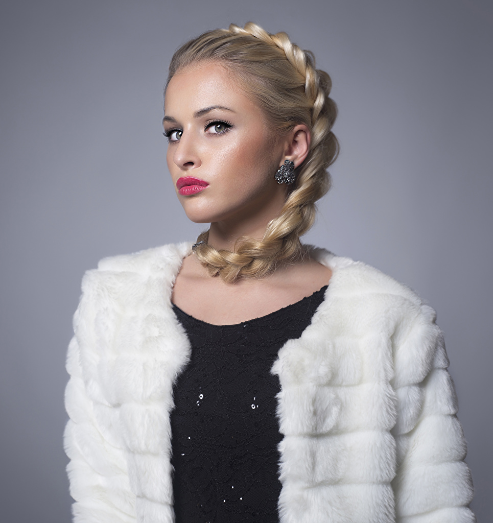 Wallpaper Blonde girl Braid hair Girls Earrings Staring Red lips Gray background plait female young woman Glance