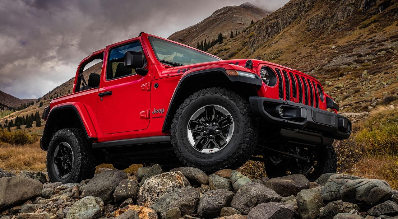 Image Jeep Sport utility vehicle Wrangler Rubicon, 2018 Red Cars stone SUV auto Stones automobile