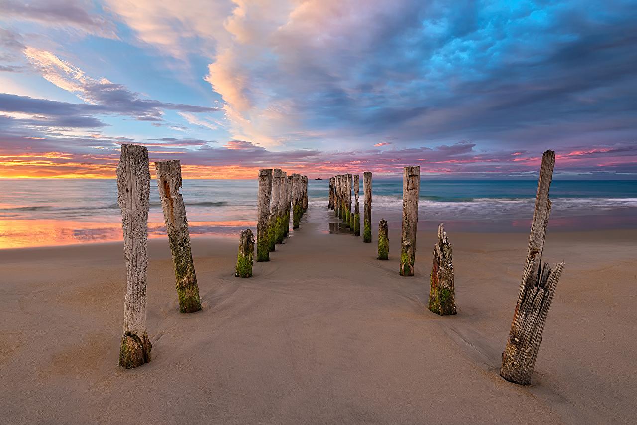 Bilder Neuseeland Strände Meer Natur Küste Wolke Strand