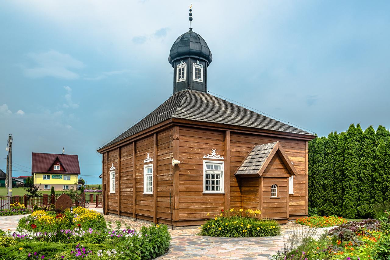 Desktop Hintergrundbilder Moschee Polen Dorf Bohoniki Alt aus Holz Städte alte alter Hölzern