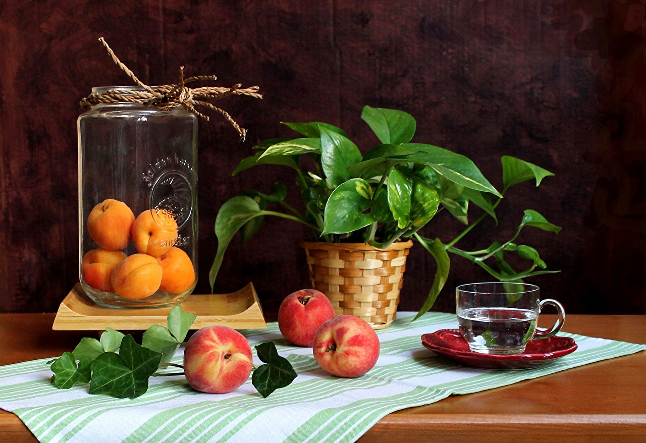 Image Apricot Jar Peaches Cup Food Branches Still-life