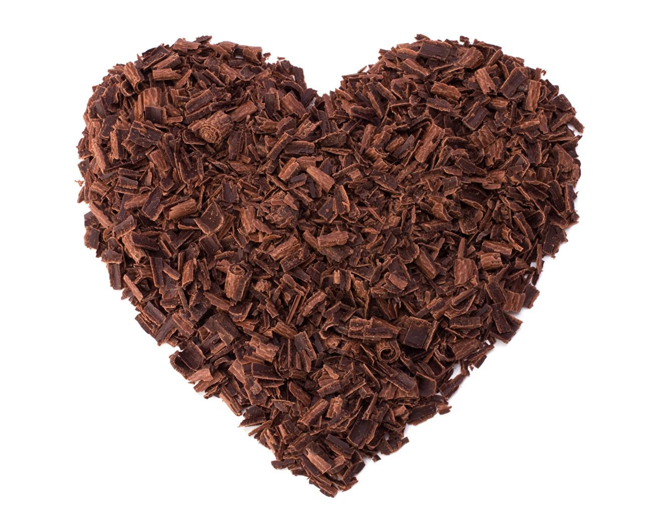 Картинки День святого Валентина Сердце Шоколад Пища белом фоне