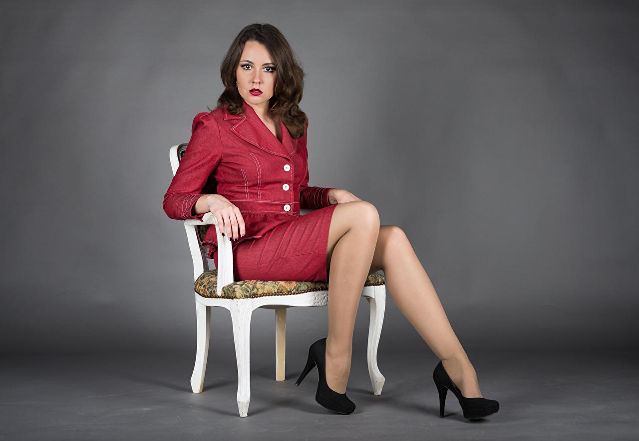 Elena Cadeira Sentados Pernas Calçados Terno Ver jovem mulher, mulheres jovens, moça, Salto-alto, cadeiras, sentada Meninas