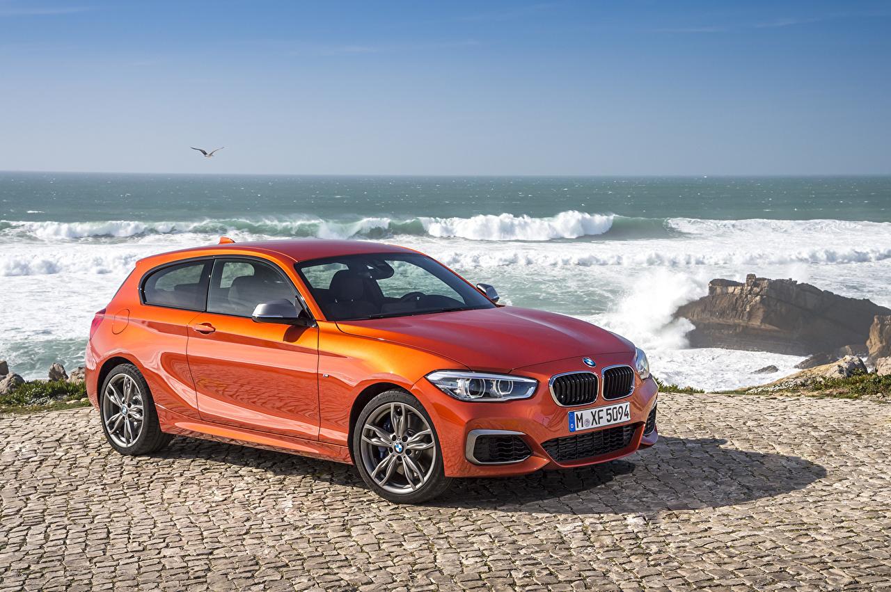 Pictures BMW 2015 M135i 3-door F21 Sea Orange auto Coast Cars automobile