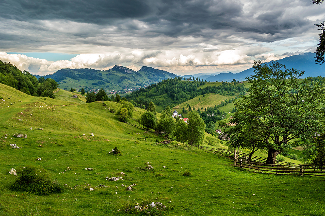 Photos Romania Brasov Nature Mountains Meadow Fields landscape photography Trees Clouds mountain Scenery Grasslands