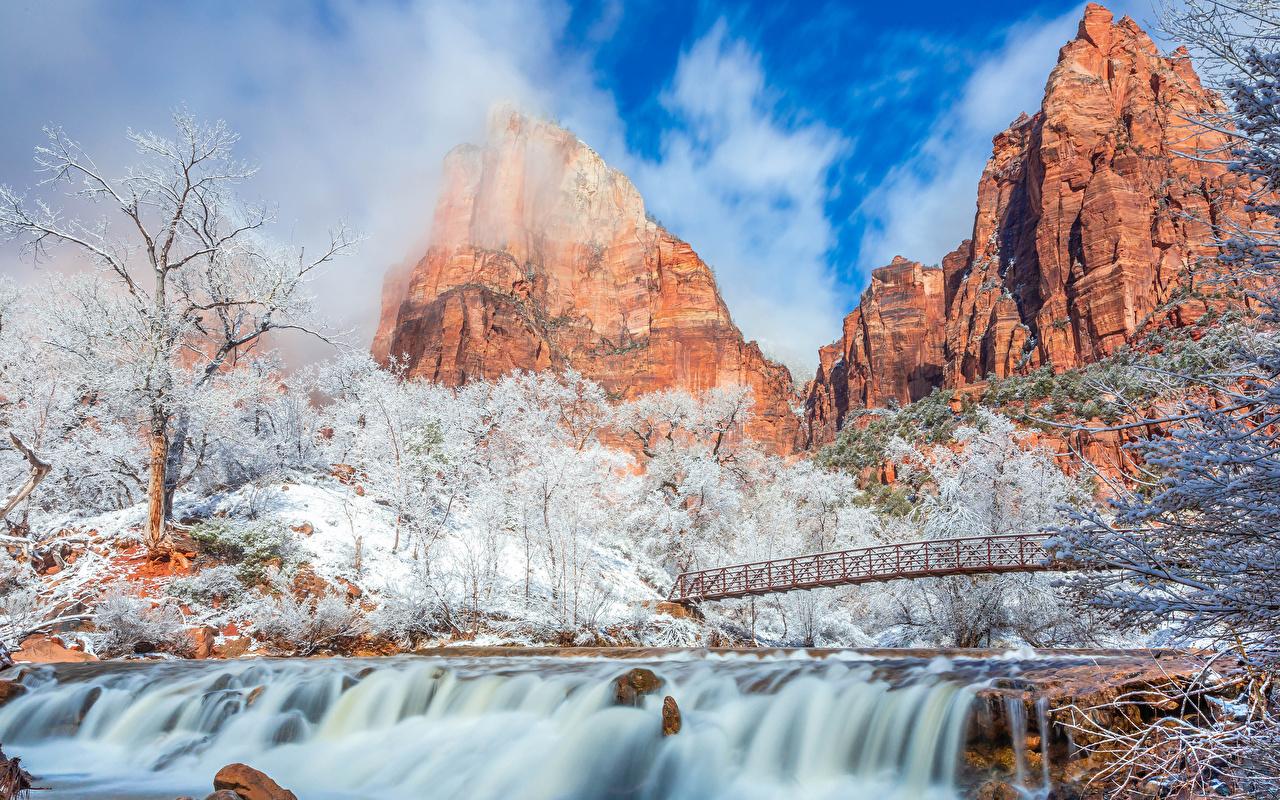 Hintergrundbilder Zion-Nationalpark USA Natur Winter Gebirge Brücken Wasserfall Park Vereinigte Staaten