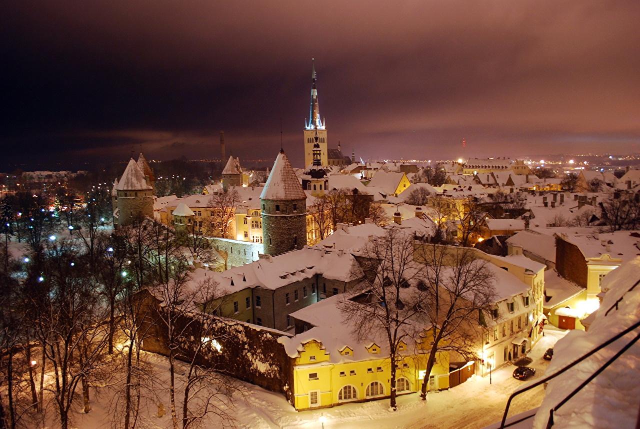Báltico Nieve Noche Ciudades