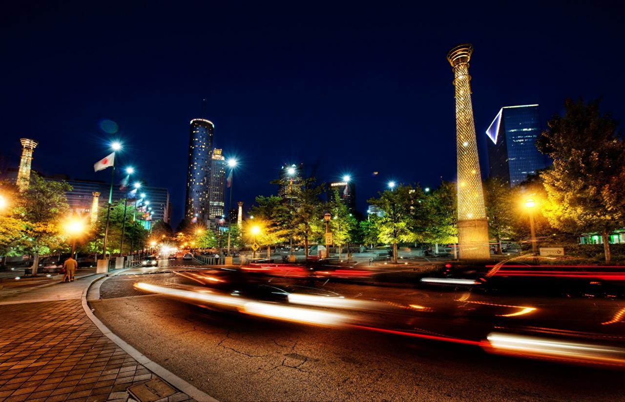 EE.UU. Carreteras Parque Olympic Atlanta Rayos de luz Farola Noche parques, Estados Unidos Ciudades