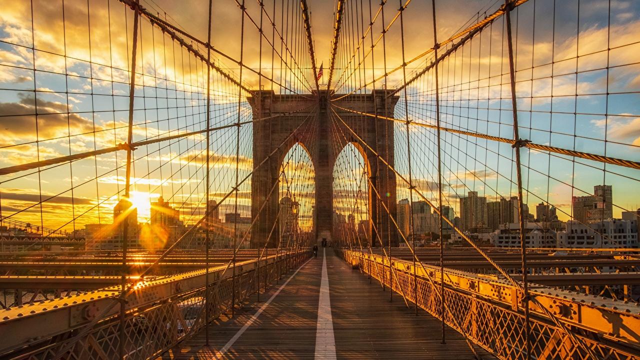 Images New York City USA brooklyn Bridges Morning Sunrises and sunsets Cities bridge sunrise and sunset