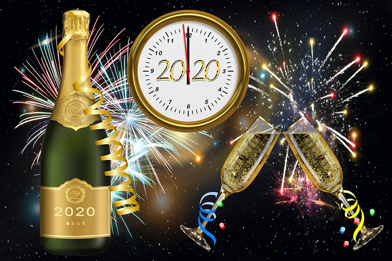 Desktop Wallpapers 2020 Fireworks Christmas Champagne Bottle Stemware Clock face