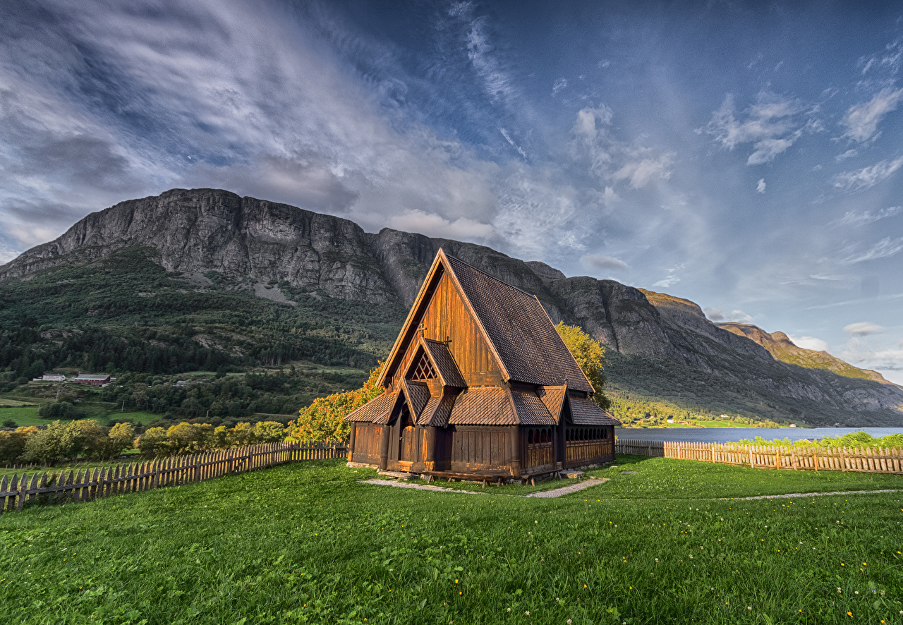 Pictures Church Norway Valdres Nature Mountains Wooden mountain from wood