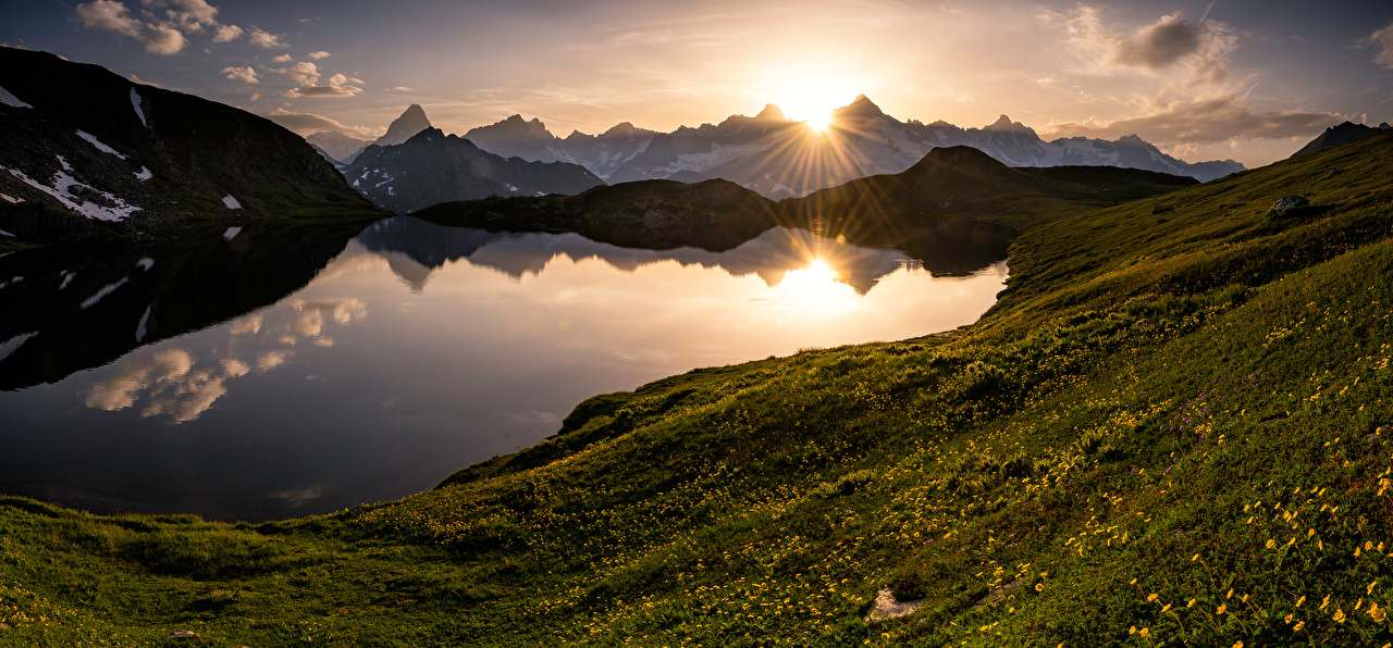 Images Alps Switzerland Valais Nature Mountains Lake sunrise and sunset landscape photography mountain Scenery Sunrises and sunsets