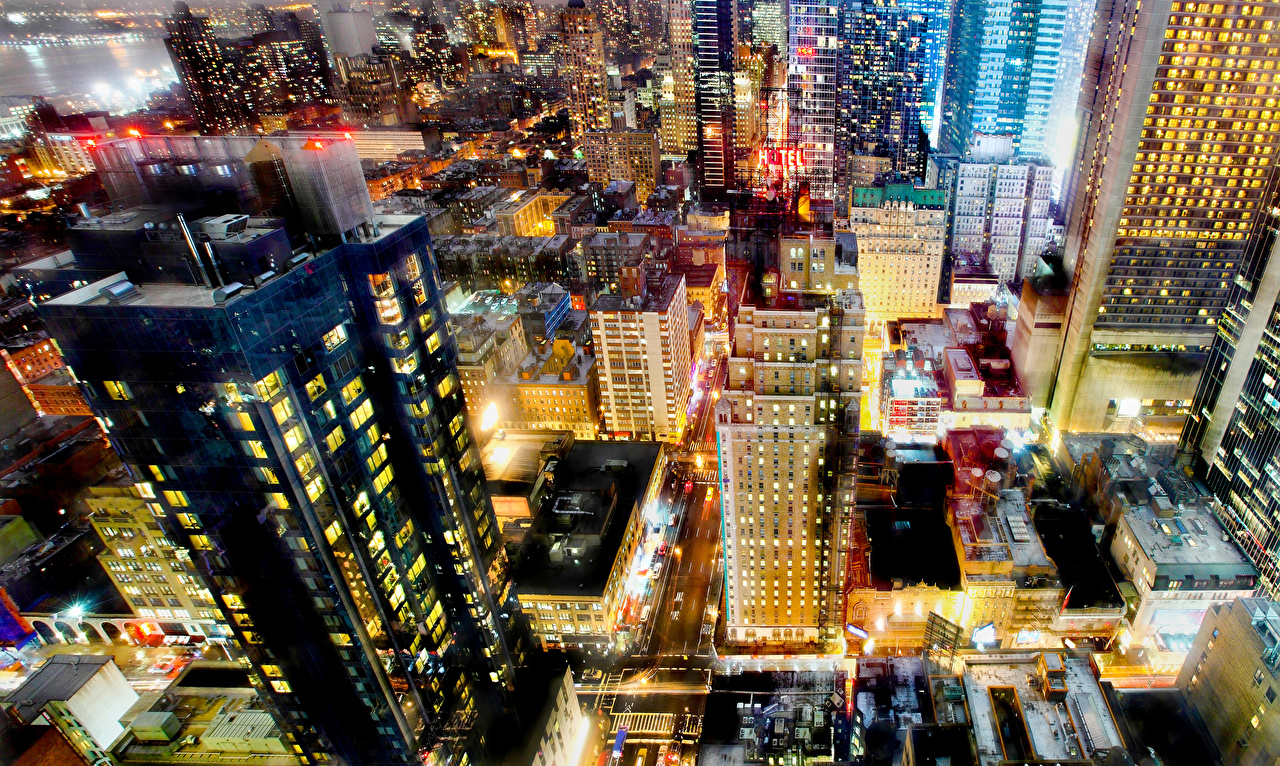 Images New York City USA megalopolis Evening From above Cities Building Megapolis Houses