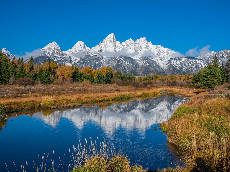 Image USA Grand Teton National Park Nature Autumn mountain park Rivers Mountains Parks river