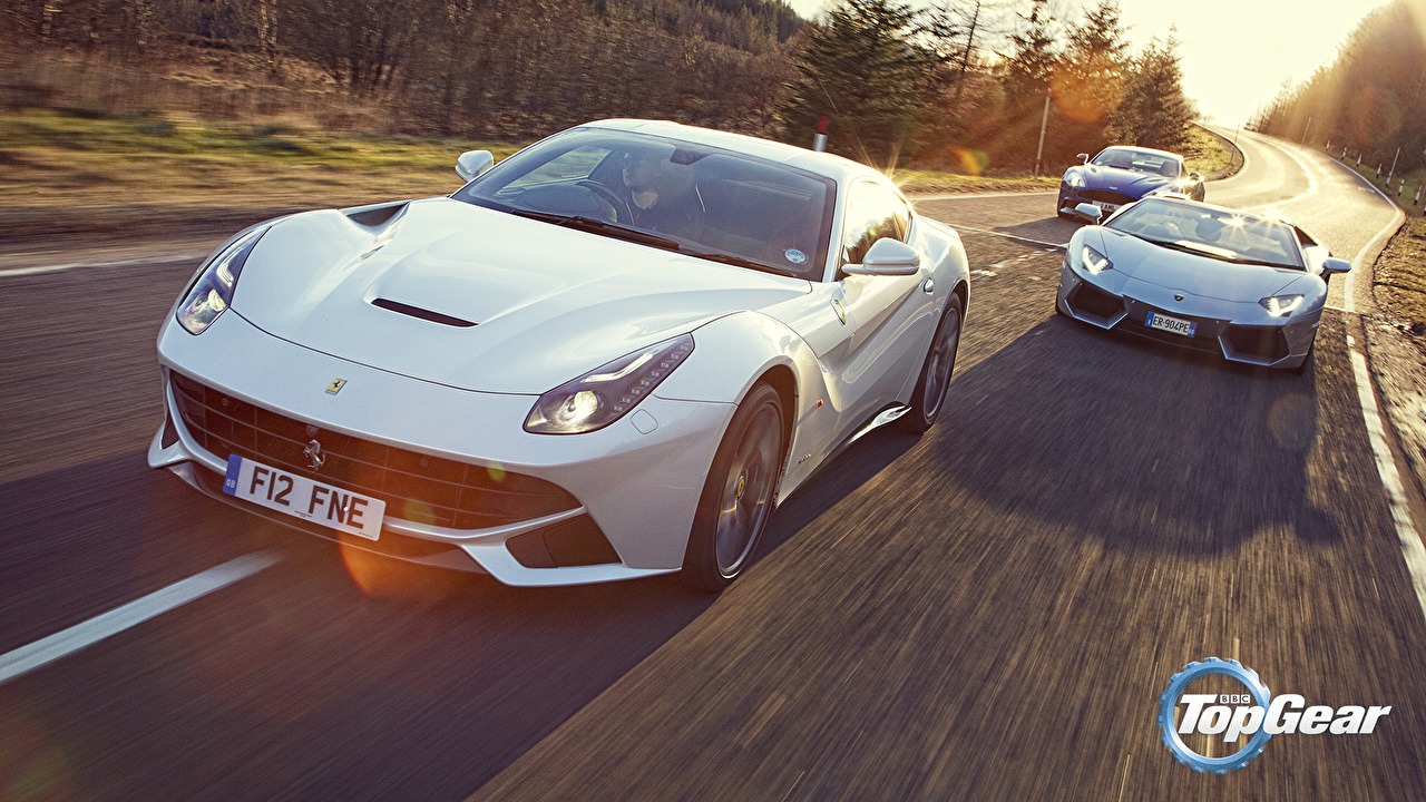 Photos Ferrari Lamborghini Aston Martin F12 Berlinetta, Aventador LP700-4 Roadster, Vanquish V12, Supercars, Top Gear Roadster White Roads Cars Front Three 3 auto automobile