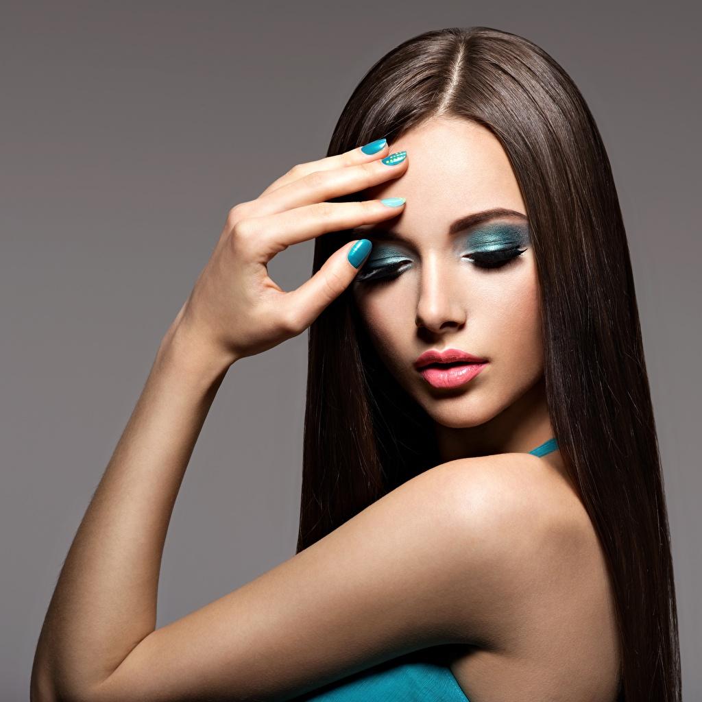 、指、美しい、モデル、化粧、髪、手、マニキュア、若い女性、少女、