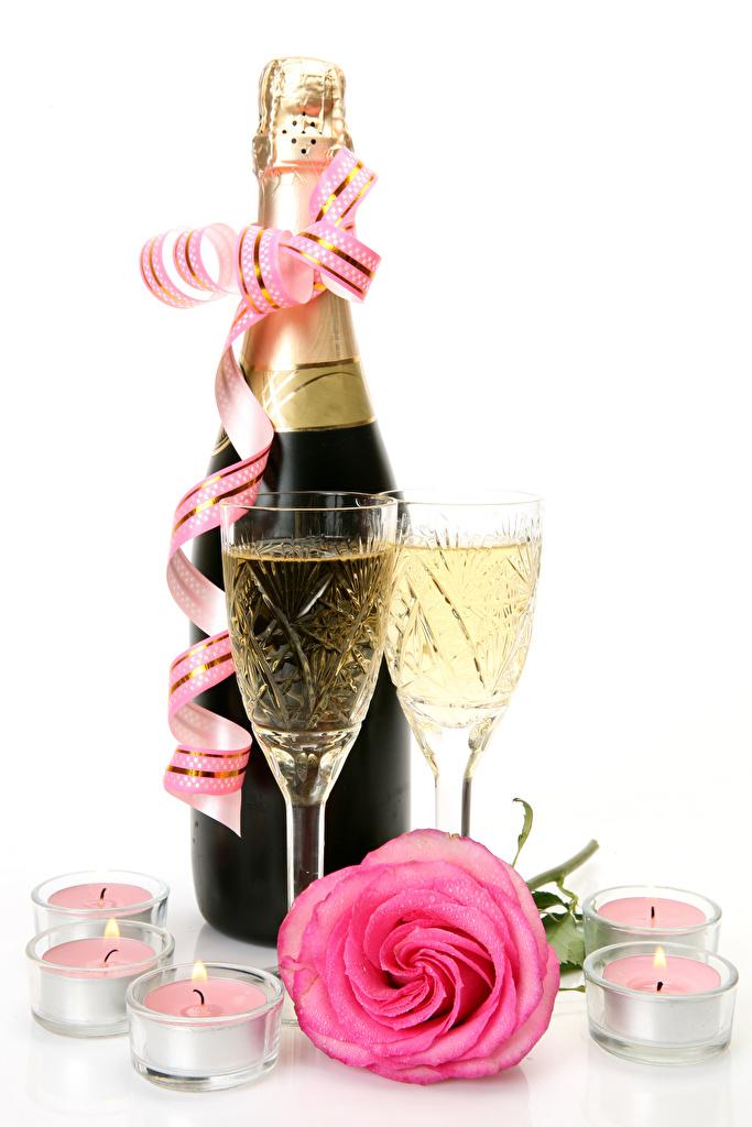 Wallpaper Roses Pink color Sparkling wine Food Bottle Ribbon Candles Stemware Holidays White background  for Mobile phone rose Champagne bottles
