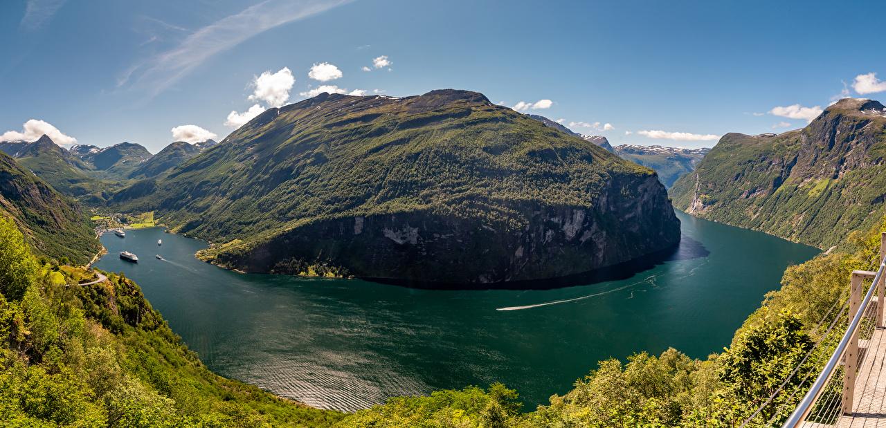 Фотографии Природа Норвегия Geirangerfjord гора Фьорд Пейзаж Залив Горы залива заливы