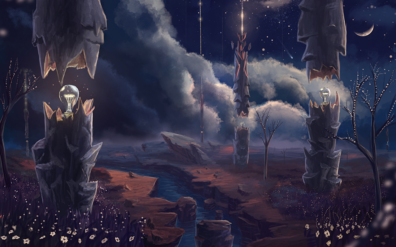 Images Fantasy Light bulb Lamp Rivers night time Clouds river Night