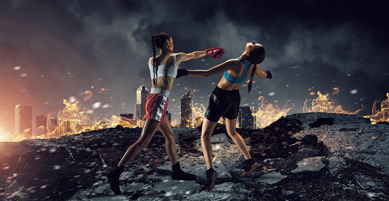 Bilder Trainieren Schlag 2 Mädchens sportliches Boxen Uniform Körperliche Aktivität schlagen Zwei Sport junge frau junge Frauen