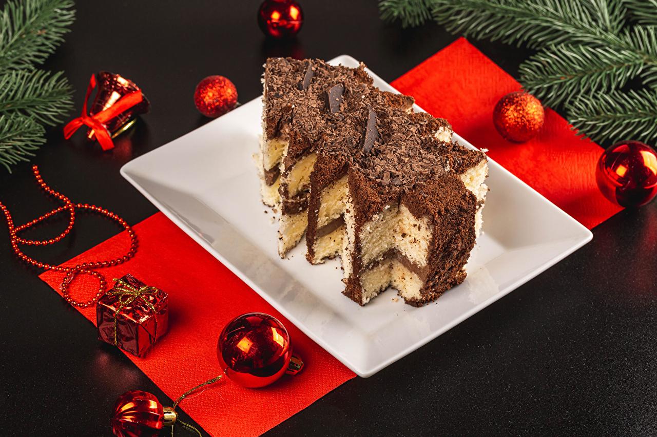 Bakgrundsbilder Nyår Choklad Tårta Julgran Mat Bollar Grå bakgrund jul Klot