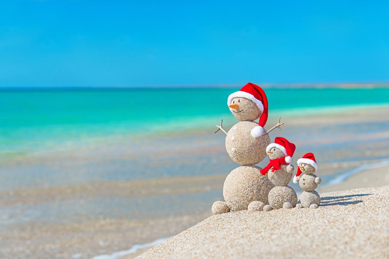 Fotos Neujahr Strände Meer Natur Mütze Sommer Sand kreative Schneemänner Kugeln Strand Kreativ originelle