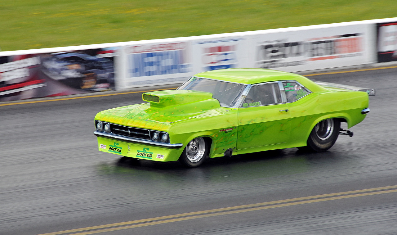 Photos Tuning drag racing Muscle car Yellow green at speed Cars lime color moving riding Motion driving auto automobile