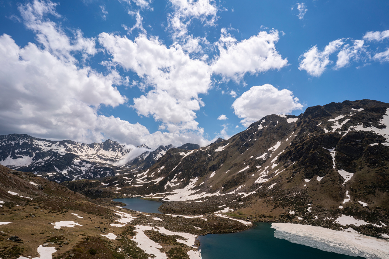 Wallpaper Andorra Tristaina Lakes Nature Mountains Sky Lake Snow Clouds mountain