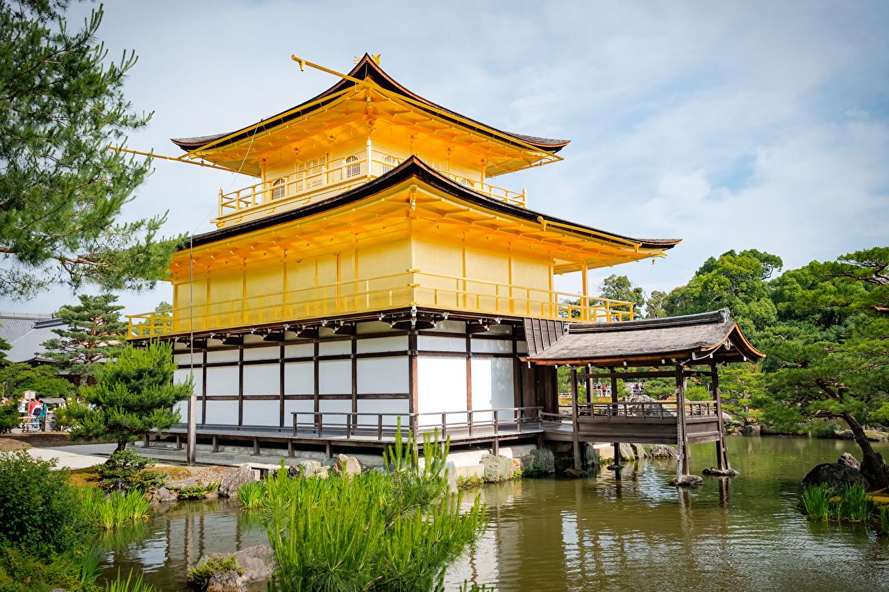 Pictures Kyoto Japan Kinkaku-ji Pond temple Cities Temples