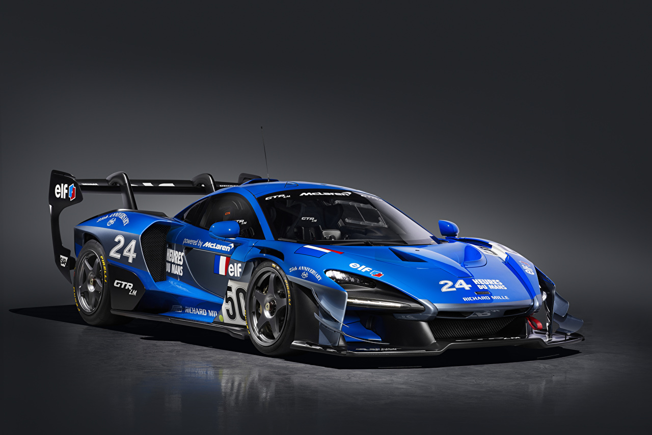 Picture Tuning McLaren 2020 Senna GTR LM 825-7 Jacadi car Blue automobile Gray background Cars auto