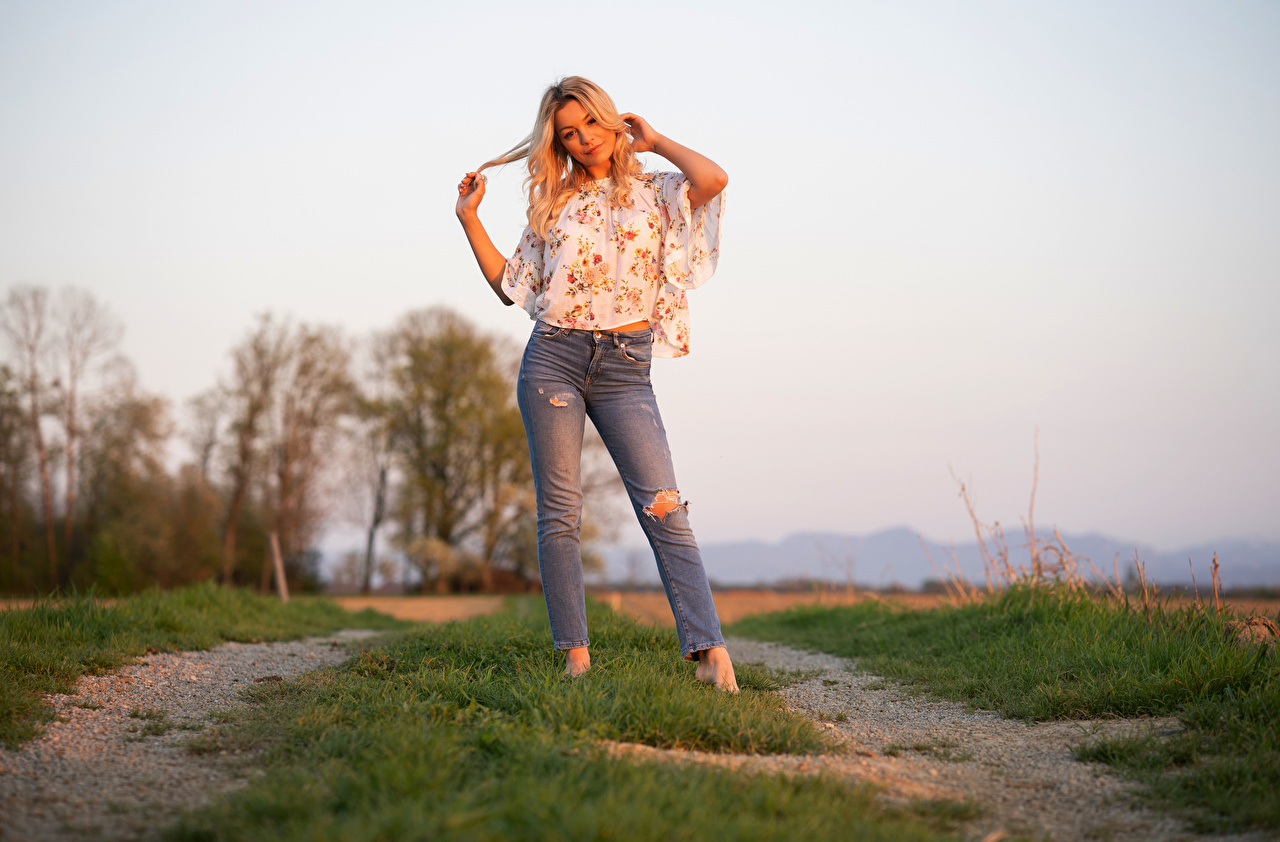 Photos Blonde girl Sofia Pose Blouse young woman Jeans Hands Glance posing Girls female Staring