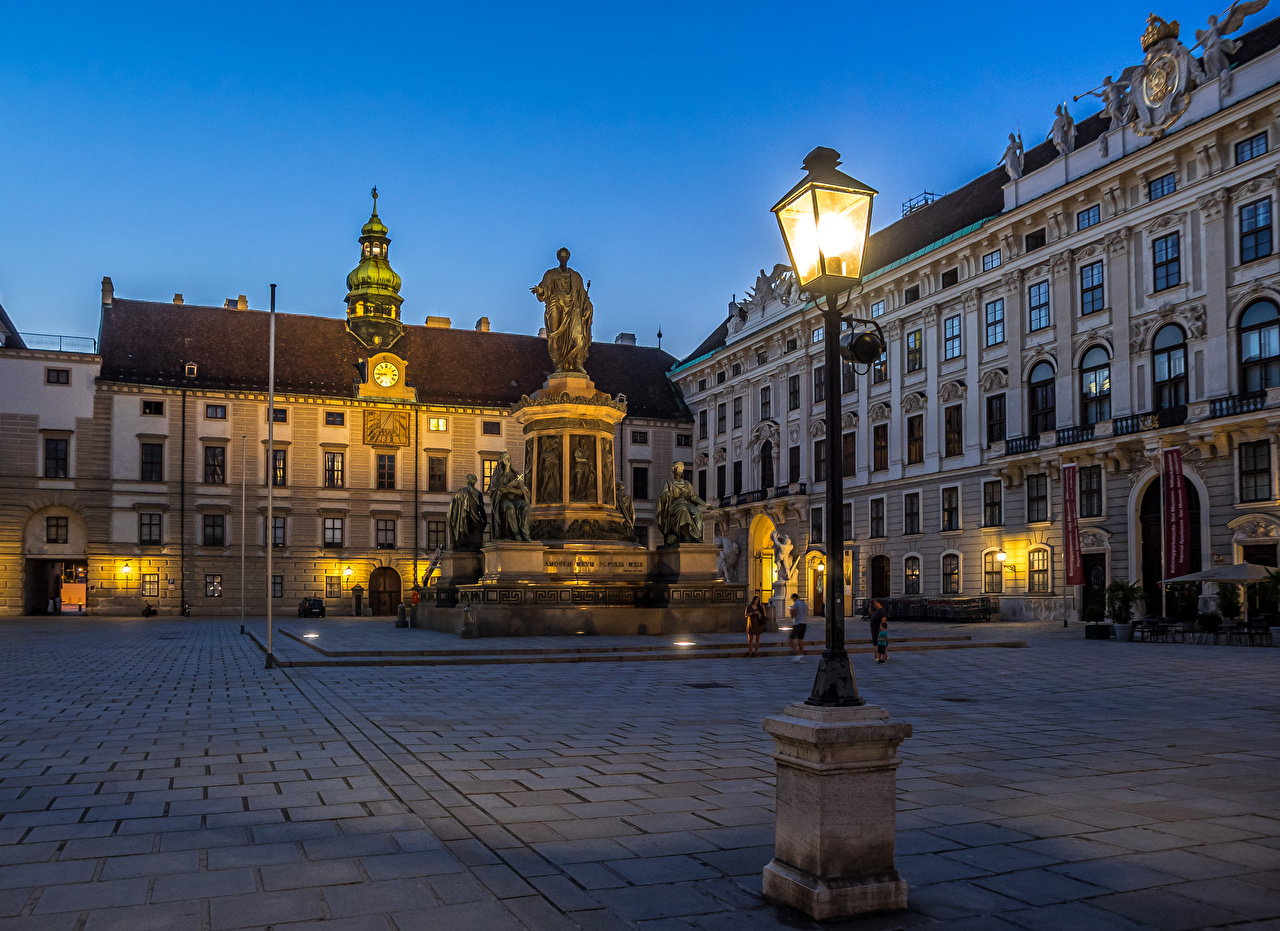 Desktop Wallpapers Vienna Austria Monuments Evening Street lights Houses Cities Building