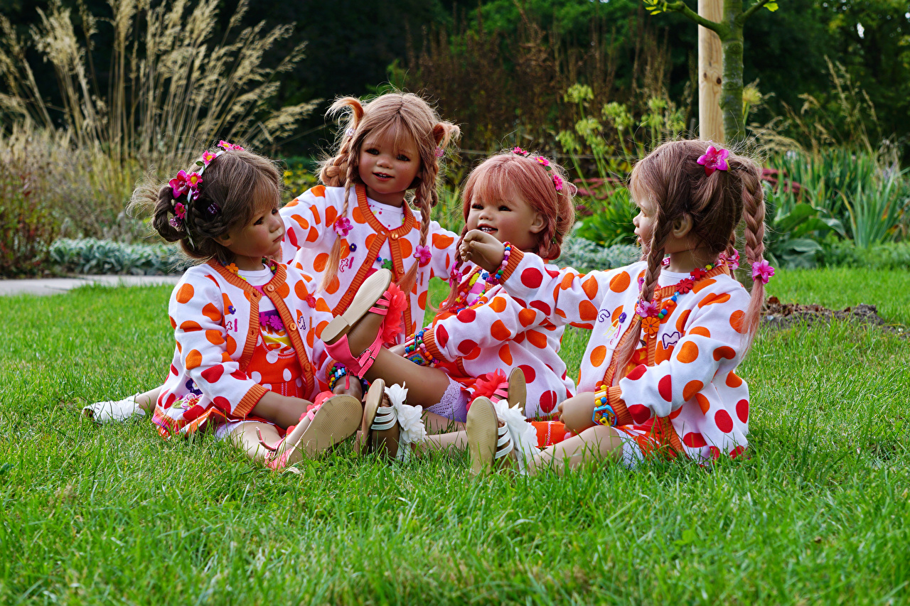 Image Little girls Germany Doll Grugapark Essen Nature park Grass Sitting Parks sit