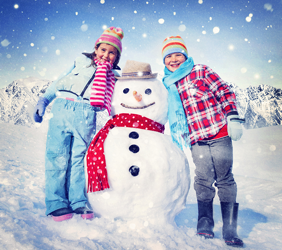 Images Little girls Boys Scarf Children Two Hat Winter Jacket Winter hat Snow Snowmen child 2 Snowman