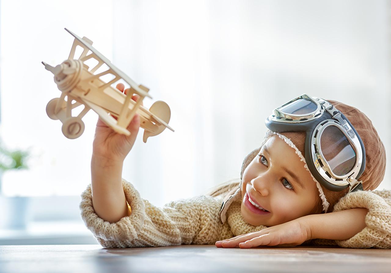 Wallpaper Little girls Airplane Helmet Smile Children Glasses