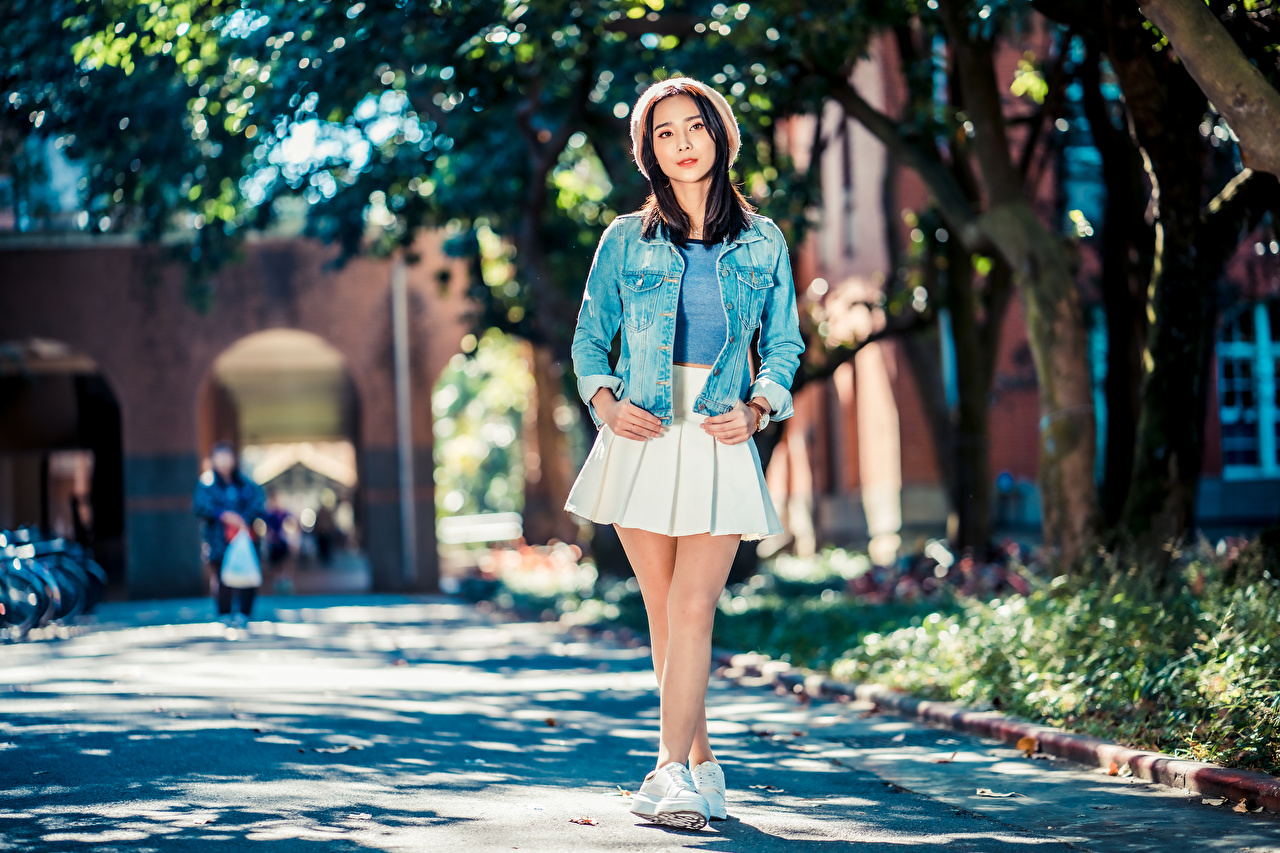 Picture Skirt Bokeh Pose Beret Jacket young woman Asiatic Glance blurred background posing Girls female Asian Staring