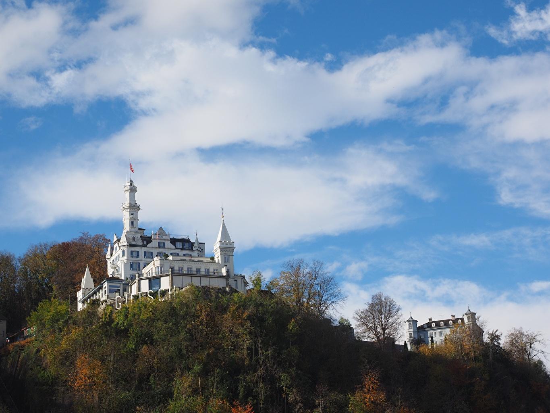 Desktop Wallpapers Switzerland Chateau Gutsch, Lucerne Hotel castle Sky Hill Clouds Cities Castles