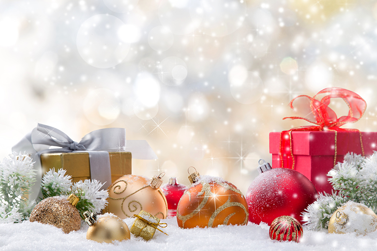 Wallpaper Christmas Snow present Balls Holidays