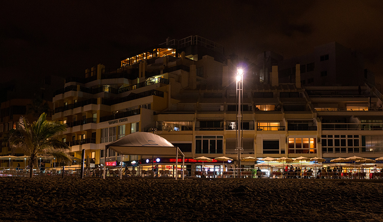 Pictures Canary Islands Spain Las Palmas Gran Canaria night time Street lights Cities Building Night Houses