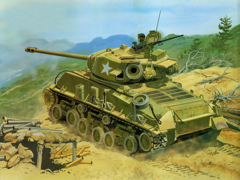 Picture Army Tanks M4A3E8 Sherman Painting Art M4 Sherman
