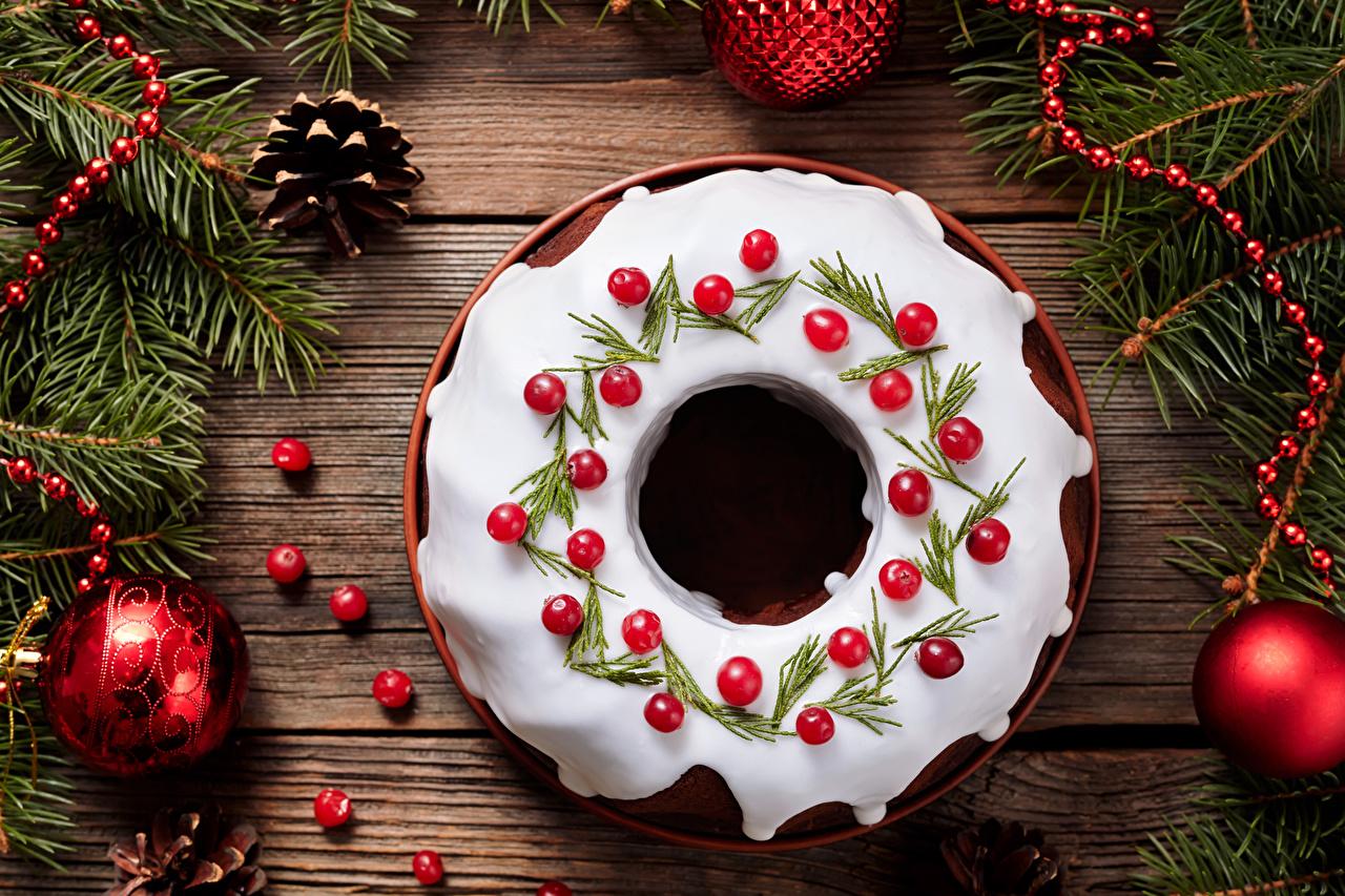 Fotos von Neujahr Zuckerguss Zapfen Kugeln Lebensmittel Backware Design Bretter das Essen