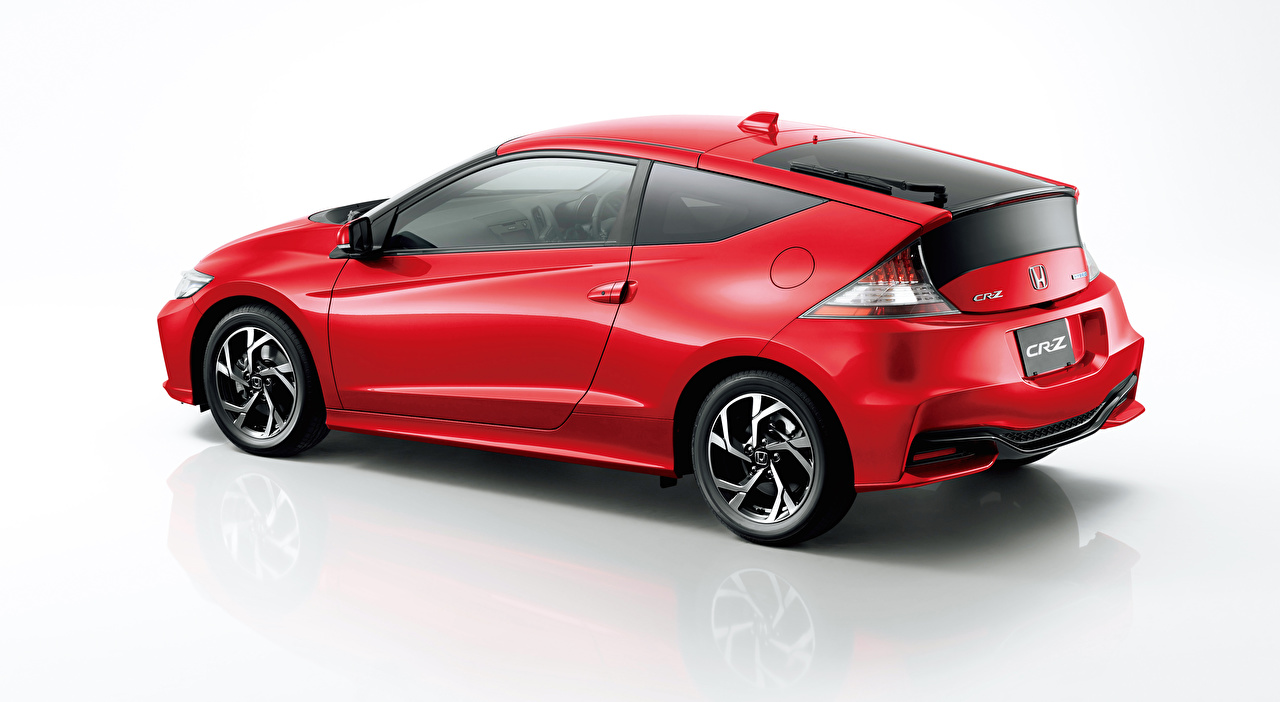 Picture Honda CR-Z, Hybrid (2010-2016) Coupe Hybrid vehicle Red Side auto Gray background Cars automobile
