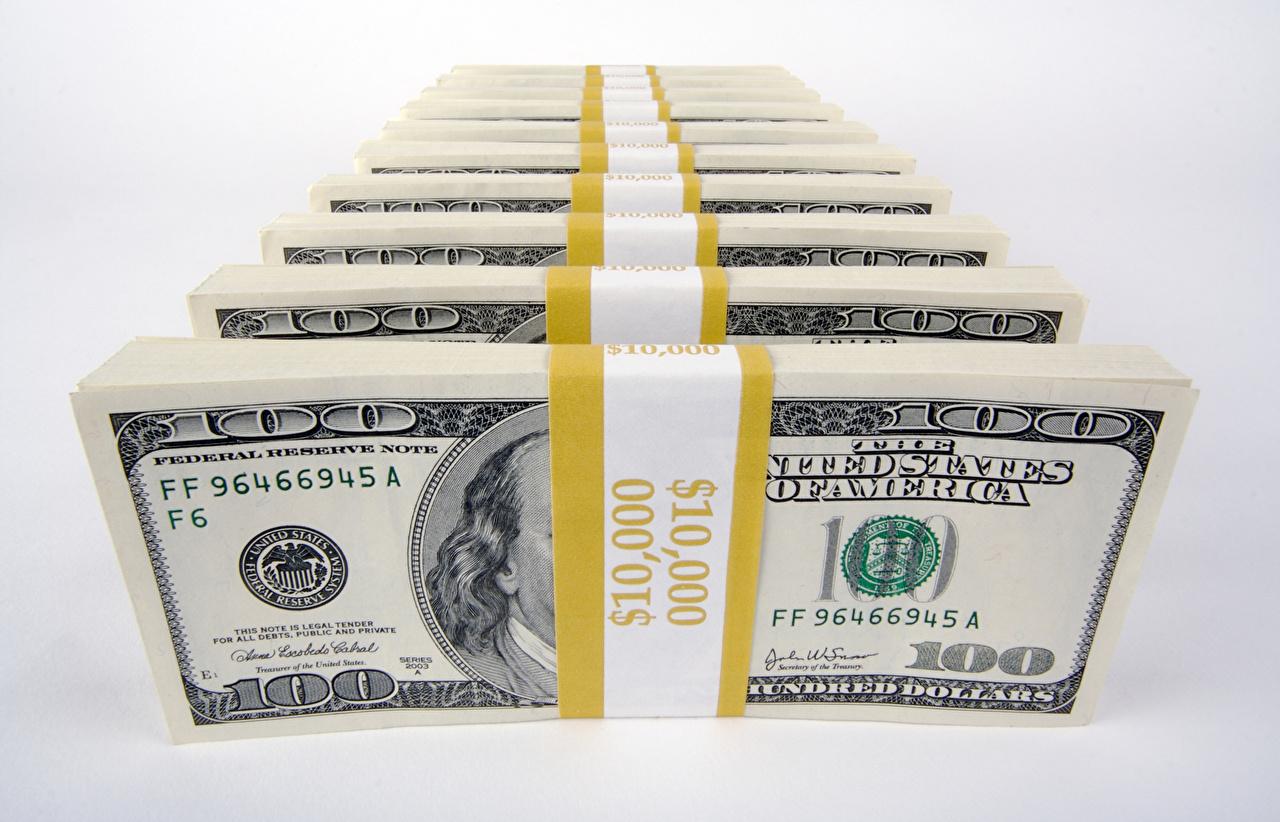 Foto Dollars Banknoten Geld Grauer Hintergrund Papiergeld Geldscheine