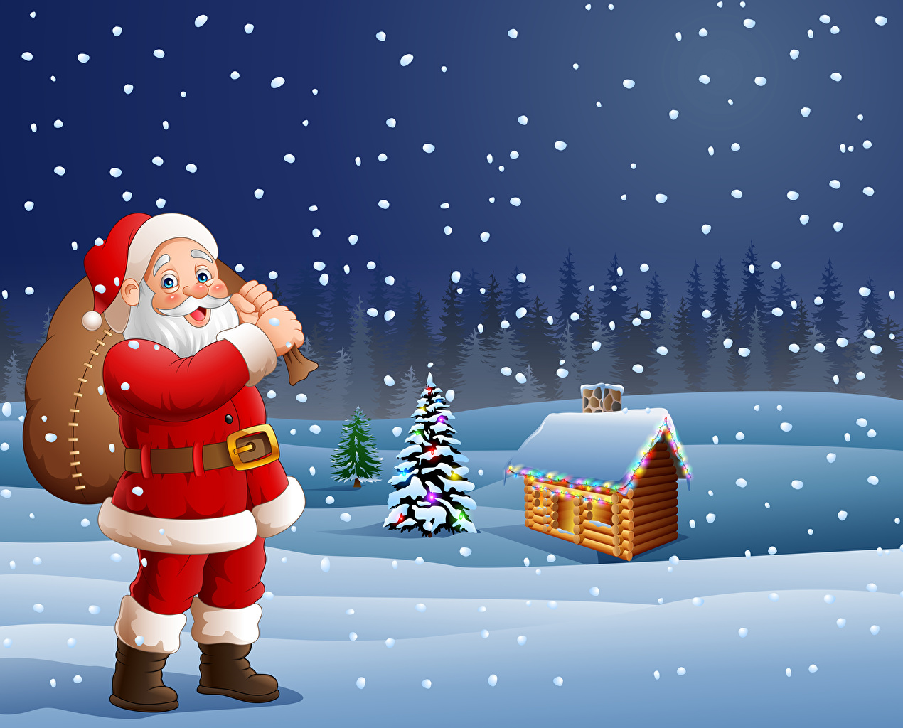 Image New year Winter Santa Claus Snow Building Vector Graphics Christmas Houses